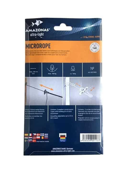 Ophangtouw Hangmat Microrope Amazonas, achterkant verpakking