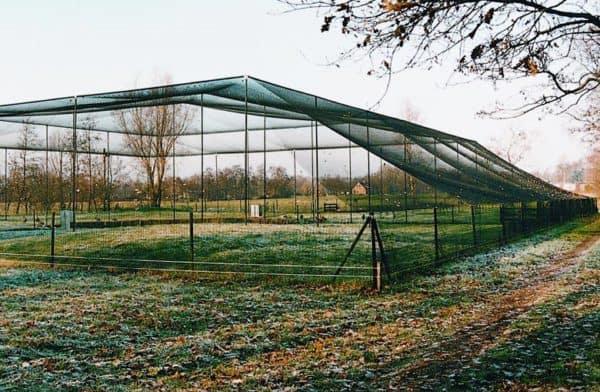 Geknoopte volièrenetten met vierkante mazen, Van der Stuyf-detail